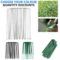 METAL GROUND GARDEN LANDSCAPE WEED MEMBRANE FABRIC TURF HOOKS PEGS STAPLES U PIN
