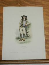 1850 Antique COLOR Print, French Costumes/YOUNG MAN NEAR QUIMPERLE, FRANCE