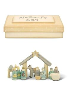 East of India Small Boxed Wooden Handmade Nativity Set Christmas New Baby Gift