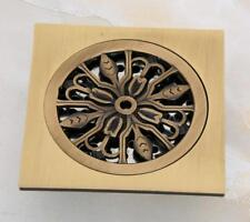 Square Antique Brass Art Carved Bathroom Floor Drain Waste Grate Drain Phr046