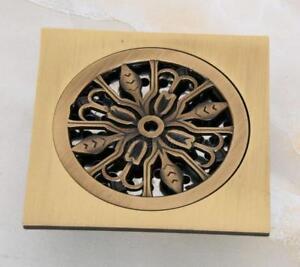 Square Antique Brass Art Carved Bathroom Floor Drain Waste Grate Drain Phr046