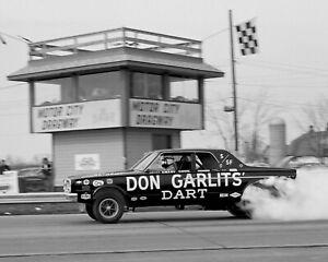 "Don Garlits Dodge Dart Funny Car Motor City Dragway B&W  Poster 8""x10"" Photo"
