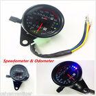 Universal Motorcycle Dual Odometer KMH Speedometer Gauge LED Backlight Signal
