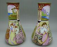 Austrian RARE Enamel Art Nouveau c.1900 Pair Hand Painted Female Vases IMPORTANT
