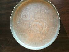 Stunning Vintage Aluminum Hammered Metal Flower Tray 8 3/4 Inches
