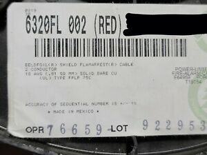 Belden Wire 6320FL 18/2C Solid Shielded Plenum Fire Alarm Cable FPLP Red /100ft