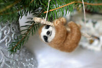 Needle felted sloth christmas ornamend. Wild animal needle felted. sloth