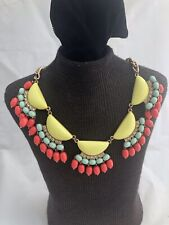 Beautiful Multi Colored Beaded Fringe & Gold Tone Necklace Yellow Turquoise Pink