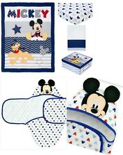 5 Pieces Disney Mickey Mouse Let'S Go Mickey Ii Crib Bedding Set & Bath Swaddle