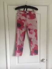 Vintage Celine Womens Skinny Jeans Patterned Floral Mom Fit Pink Denim 36