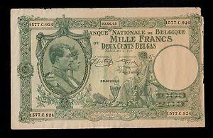 BELGIUM 1000 FRANCS - 200 BELGAS  1942  PICK # 110  FINE.