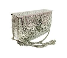 White Metal clutches Vintage Handmade Brass metal purse Hand clutch Bridal bags