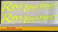 2x Fluro Yellow 255mm Stickers Decal Revs Your Heart Suitable For Yamaha Bike