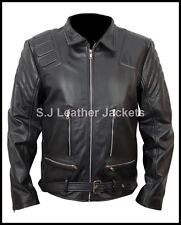 Men's Fashion Real Leather Terminator Style Jacket Top Quality Xs-5xl