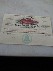 1917 Dallas Texas Color Letterhead Brown Cracker & Candy Co