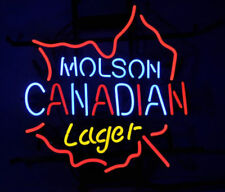 "New Molson Canadian Leaf Lager Handcrafted Neon Sign Beer Bar Pub Light 17""X14"""