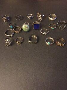 Vintage Sterling Silver LOT OF 18 Rings