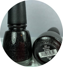 China Glaze Nail Polish  HAUNTING 984 Smooth Silver Glitter on Black Base Lacuqe