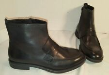 NEW VAGABOND BLACK LEATHER AMINA ANKLE LOAFER BOOTS WOMENS US 9 EUR 39