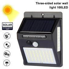 100LED 3 Sides Solar Powered Garden Lights PIR Motion Sensor Outdoor Security