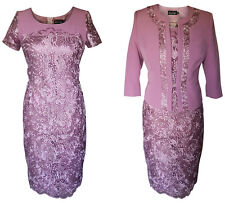 LILAC DUSTY PINK MOTHER OF THE BRIDE GROOM OUTFIT 2 PIECE JACKET DRESS SIZE 12