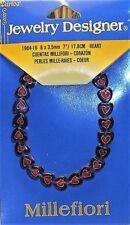 """Bracelet Stretch Millefiori Glass Purple Red White Hearts 7"""" Sold Individually"""