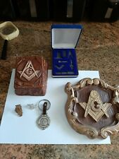 Masonic Compass & Square Freemason Complete Metal Working Tools Set plus Box etc