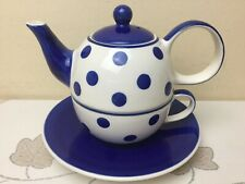 Whittard Of Chelsea Tea Clipper Tea For One Blue & White Spots Superb Condition