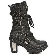 NEW ROCK NEOTR005S-25 VINTAGE BLACK GOTHIC ROCK PUNK LADIES LEATHER BOOTS