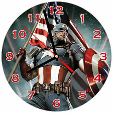"8"" WALL CLOCK - CAPTAIN AMERICA 1 Kids room Kitchen Office Bathroom Bar Bedroom"