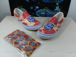 """Heileman's Old Style Beer """"Pepperoni Pizza"""" Vans Style Slip On Sneakers With..."""