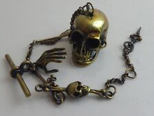 BRASS SKULL SNUFF BOX ON SKULL & BONE WATCH CHAIN