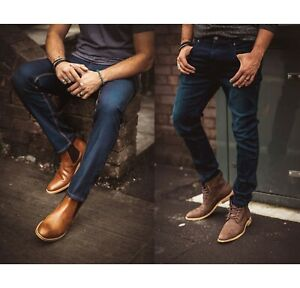 Mens Cavani Denim Jeans Indigo Blue Slim Fit Stretch Material Short Regular Long