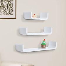 U Shape Shelf Set of 3 Floating Wall Mounted Modern White 3pc
