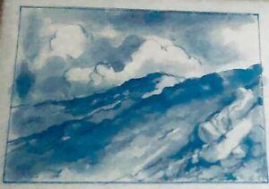 """# 2 """"WHITE MOUNTAINS """" GEORGE LORENZO NOYES 1863-1945 Ink Wash LANDSCAPE"""