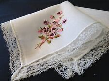 #5034🌟Vintage Floral Fresh Picked Pink Violets Bouquet Embroidery Handkerchief
