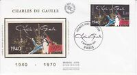 Enveloppe maximum 1er jour FDC Soie 1980 Charles de Gaulle