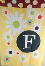 "Toland Floral Monogram F 28 x 40"" Spring Summer Flower Initial House Flag / T3"