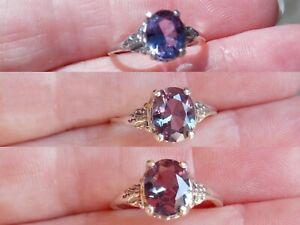 PUPRPLE COLOR CHANGE ALEXANDRITE RING 925 STERLING SILVER OLD STYLE SIZE 7.5
