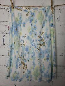 "Ann Taylor Linen Blend A-line Skirt size 10 Blue Floral Lined 27"" Long"
