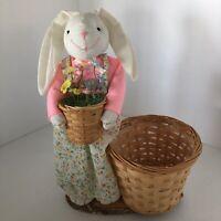 "Easter Spring Basket Bunny Decor With Plant Holder Candy /Egg Holder 12"" CUTE"