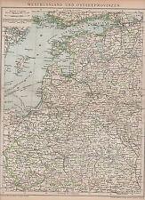 Estland Livland Lettland Ostpreussen LANDKARTE von 1894 Kurland Samogitien