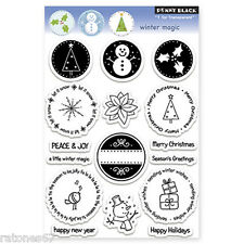 New Penny Black WINTER MAGIC Clear Stamps Christmas Seals Holidays Snowman Tree