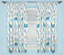 """Childrens Blue & White Disney Frozen I'm Cool Olaf 66"""" Wide x 72"""" Drop Curtains"""