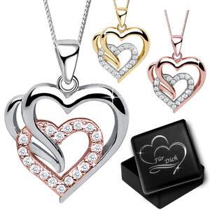 Damen Halskette Herz echt 925er Silber Gravur Schmuck Box für Frauen Geschenk
