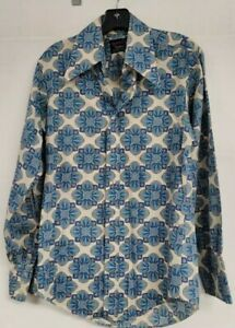 MENS VINTAGE SHIRT VINTAGE 70s CAMPUS EXPRESSIONS ALL OVER PRINT HIPPIE SZ SMALL
