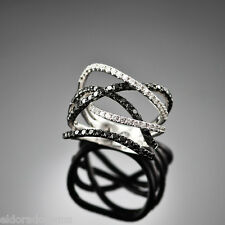 HIGH END COCTAIL RING - 3.50 CT. WHITE & BLACK DIAMONDS 18K WHITE GOLD SIZE 10