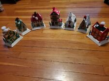 Vtg 7 Finished Plastic Canvas Christmas Village houses Church town house