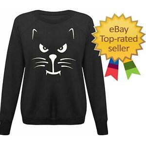 Women Ladies Fashion Cat Face Scary Enough Halloween Sweatshirt Jumper Top
