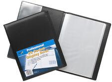 A4 Black Deluxe Faux Leather Portfolio 20 Pocket Certificate Display Book Folder